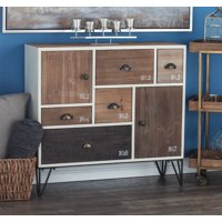 """DecMode Stenciled White and Natural Wood Modern Chest, 35"""" x 33"""""""