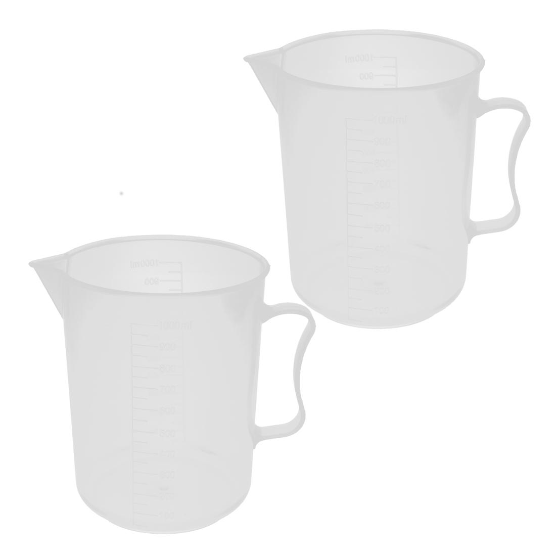 Unique Bargains Kitchen Lab 1000mL Plastic Measuring Cup Jug Pour Spout Container 2pcs by Unique-Bargains