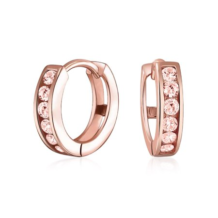 Cubic Zirconia CZ Channel Set Small Kpop Huggie Hoop Earrings For Women Rose Gold Plate Sterling Silver More (Framed Rose Earrings)