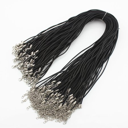 Micelec 10 Pcs 2mm Rubber String Necklace Cords Lobster Clasp for Jewelry Making DIY