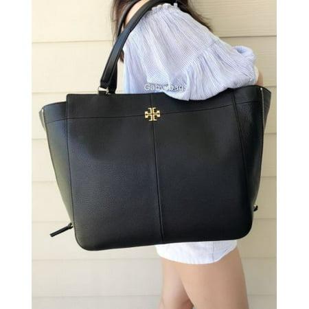 19bec94f38a Tory Burch - NWT TORY BURCH Ivy Side Zip X Large Tote Black Leather Shopper  Handbag  525 - Walmart.com