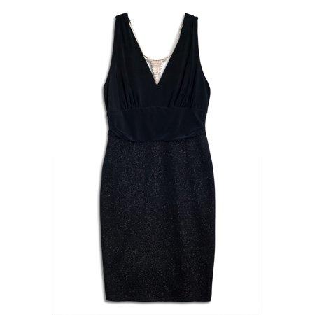 Plus Size Empire Waist Dress with Necklace Detail Black ()