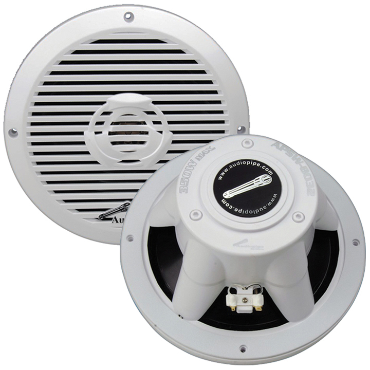 "Audiopipe APSW-8032 8"" 2-Way Coaxial Marine Speaker 350W White"