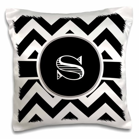 3dRose Black and white chevron monogram initial S, Pillow Case, 16 by 16-inch ()