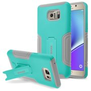 Galaxy Note 5 Case, RANZ Aqua Blue with Grey Hybrid Armor Case Protective Dual Layer Protective and Advanced Shock Absorption Protection with Kick-Stand Feature for Samsung Galaxy Note 5 (N9200)