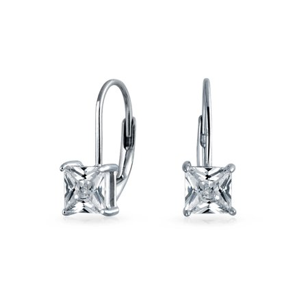 Cut Leverback Drop Earrings (1Ct Brilliant Princess Cut Solitaire Square Cubic Zirconia CZ Leverback Drop Earrings For Women 925 Sterling Silver)
