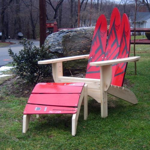Ski Chair Water Ski Adirondack Chair and Ottoman