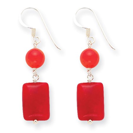 Agate Antique Earrings (Sterling Silver Red Coral/Red Agate Earrings)