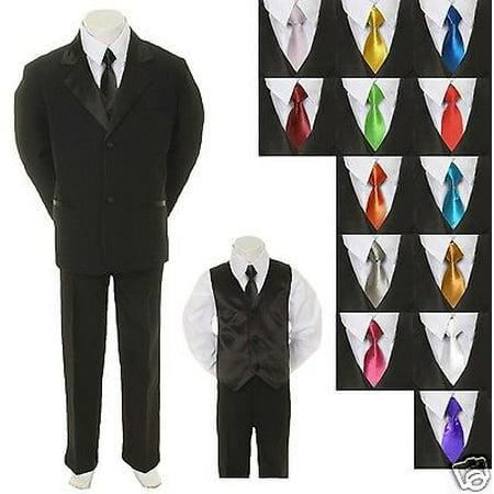 Baby Toddler Boy Black Formal Suit + EXTRA color TIE 6pc Tuxedo S M L XL - Bright Orange Tuxedo