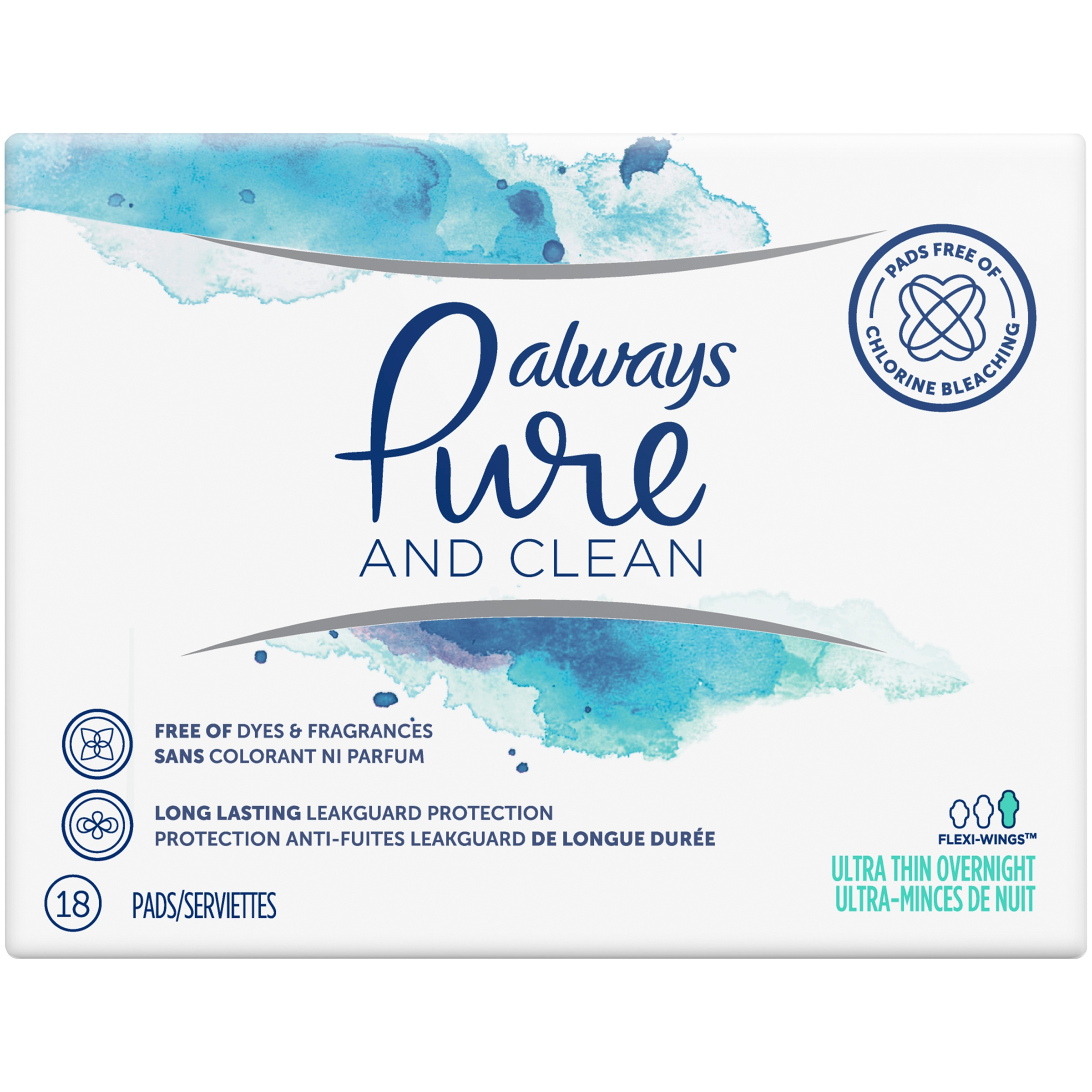 Always Pure & Clean Ultra Thin Feminine Pads With Wings, Overnight Absorbency, 18 Count