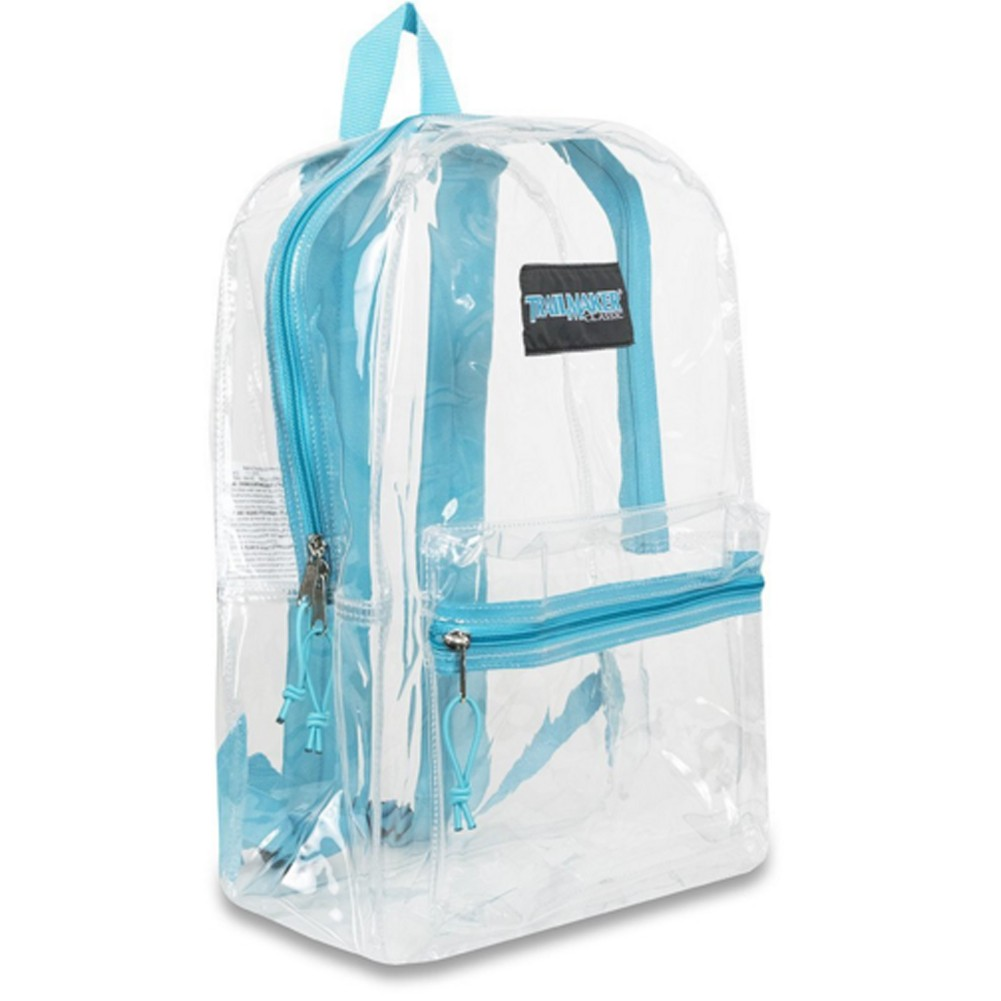 "Trailmaker Girls Aqua Padded Straps Classic Clear Backpack 15""x10.6""x5"" by Bags in Bulk"