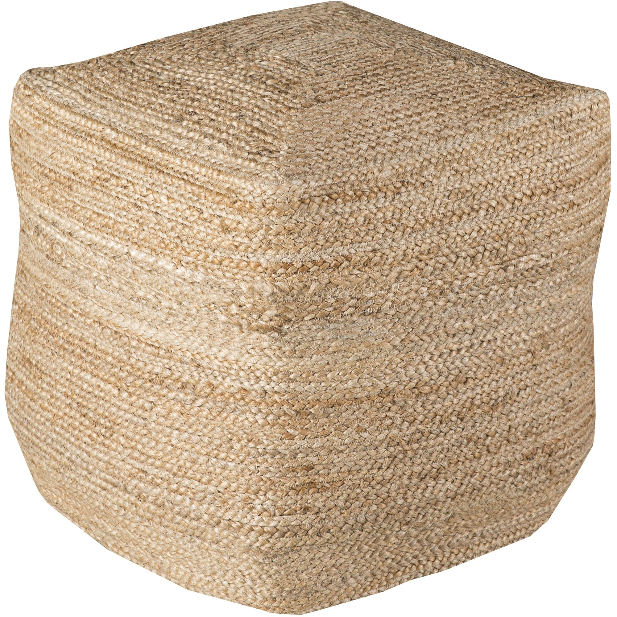 Libby Langdon Callahan Hand Made Natural Fiber Solid Jute Pouf, Beige