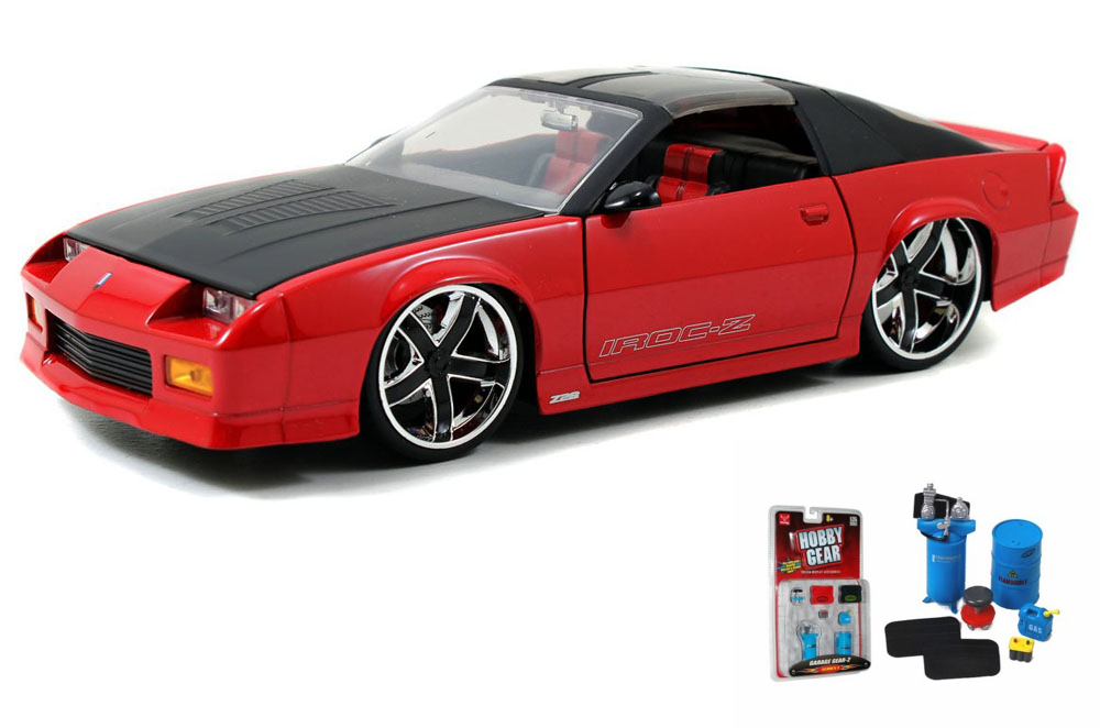 Diecast Car & Garage Diorama Package 1985 Chevy Camaro T-Top, Red Jada Toys Bigtime Muscle... by ModelToyCars