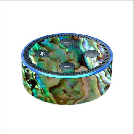 Gold Sea Shell (Skin Decal For Amazon Echo Dot 2 2Nd Gen/ Abalone Sea Shell Gold Blues)