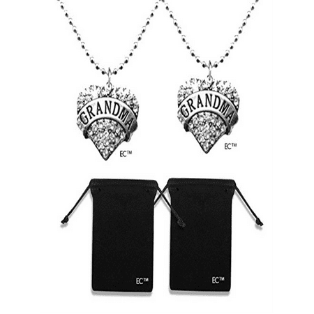 Greatest Grandma Charm Silver Necklace & Mothers Day Gift Idea & Velvet Drawstring Jewelry Bag - 4pk COMBO - Crystal Engraved Necklace & Pendant Bead Chain Grandma Gifts (2 Necklaces w/2 Pouches)