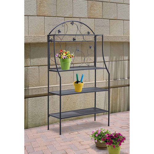 Mainstays Outdoor Bakeru0027s Rack And Plant Stand, Black