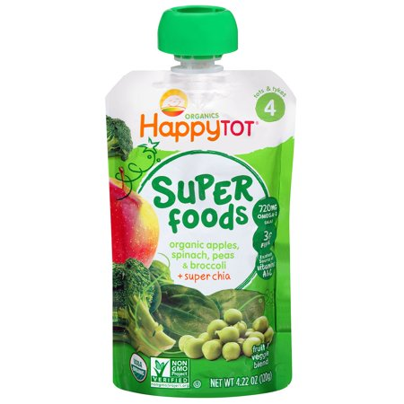 Nurture Inc. (Happy Baby), Happytot, Organic Superfoods, Apples, Spinach Peas & Broccoli + Super Chia, 4.22 oz(pack of 1) (Fresh Spinach)