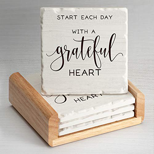 Counterart Grateful Heart Single Image Absorbent Stone Coaster Set Of 4 In Wooden Holder Made In The Usa Walmart Com Walmart Com