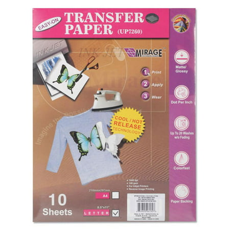Printable Iron On Transfer Paper 8.5X11 Inkjet 10 Sheets