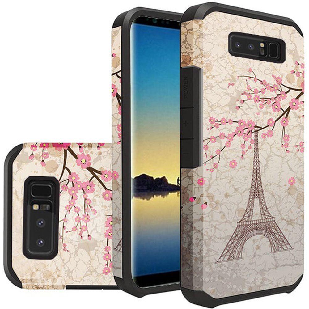 For Samsung Note 8 Rubberized Design Case Hybrid - White Vintage Eiffel Tower Paris Sakura Flowers