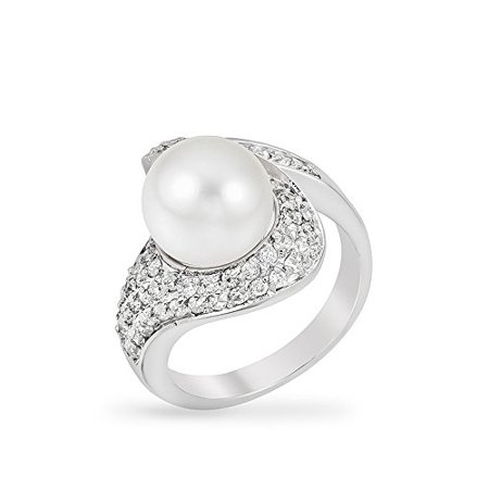 10 Mm Pearl Ring - Rhodium Plated Cocktail Ring with 10mm White Shell Pearl and Clear CZ Accented Shoulders Size 5