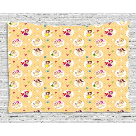 Angel Tapestry, Childhood Baby Nursery Kids Motherly Love Playroom ...