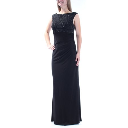 JESSICA HOWARD Womens Black Embellished Sequined Sleeveless Jewel Neck Full Length Empire Waist Formal Dress  Size: 8 Jessica Howard Formal Dresses