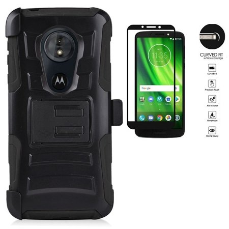 Motorola moto g play (6th Gen) Case, Motorola Moto G6 Play Case, Heavy Duty Shockproof Holster Case Cover and Swivel Belt Clip for Motorola Moto G6 Forge [Tempered Glass Screen Protector] (Black) (Moto G Ext Accessories)