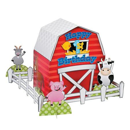 Fun Express - Farm 1st Birthday Centerpiece (11pc) for Birthday - Party Decor - General Decor - Centerpieces - Birthday - 11 Pieces](Birthday Express Catalog)