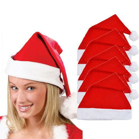 Christmas Novelty Hats Sale (5x Adult Unisex Adult Xmas Red Cap Santa Novelty Hat for Christmas)
