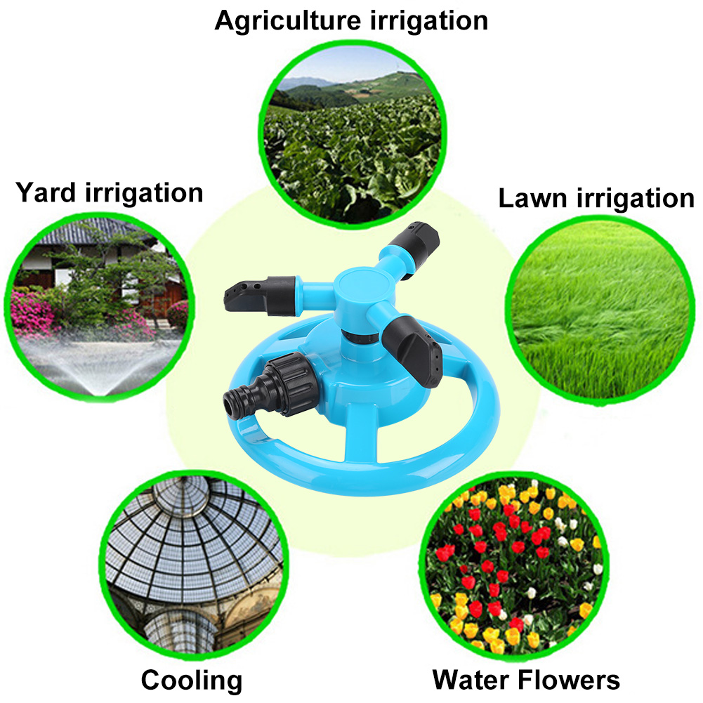 Dilwe 360° 3 Nozzle Fully Circle Rotating Watering Sprinkler Irrigation System for Garden, 3 Nozzle Water Sprinkler, 3 Nozzle Water Irrigation