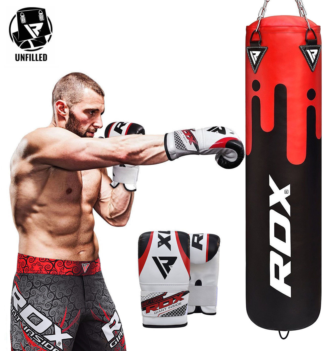 RDX F9 Heavy Red Punching Bag Kit With Bag Mitts