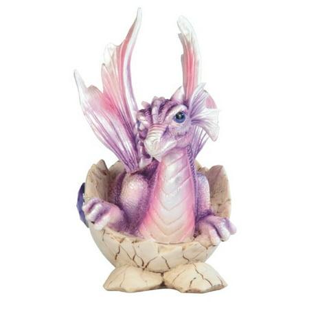 Baby Purple Dragon in Egg with Gem Figurine February Birthstone Amethyst New 35 Mm Purple Dragon