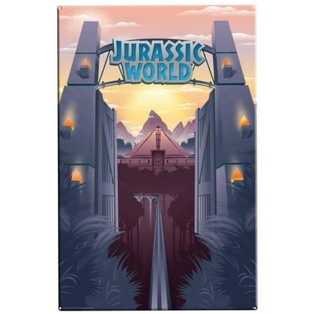 Factory Sign - Jurassic World - Park Gates Tin Sign - 11x16