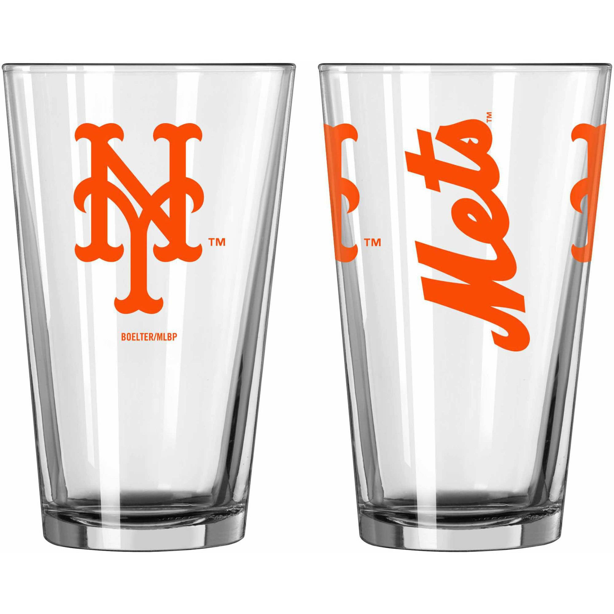 Boelter Brands MLB Set of Two 16 Ounce Game Day Pint Set, New York Mets