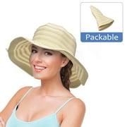 Women Floppy Sun Bucket Hats w/ Wide Brim Straw Edge Summer Beach UV Protection Foldable Gardening Hiking Cap by Solaris
