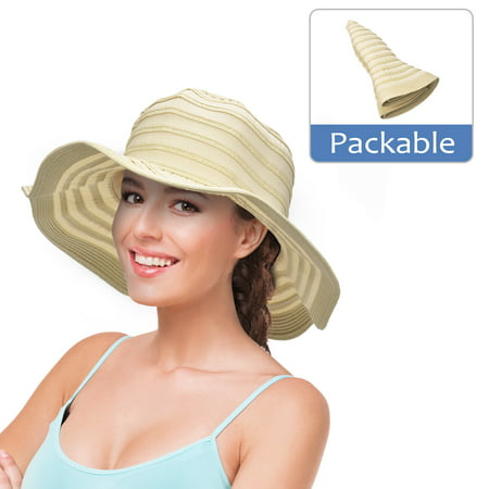 Womens Sun Hat w/ Floppy Brim Straw Edge Foldable Gardening Hiking Beach Cap