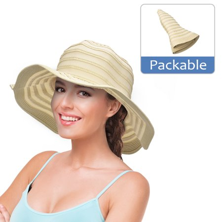 Womens Sun Hat w/ Floppy Brim Straw Edge Foldable Gardening Hiking Beach Cap - White Derby Hat
