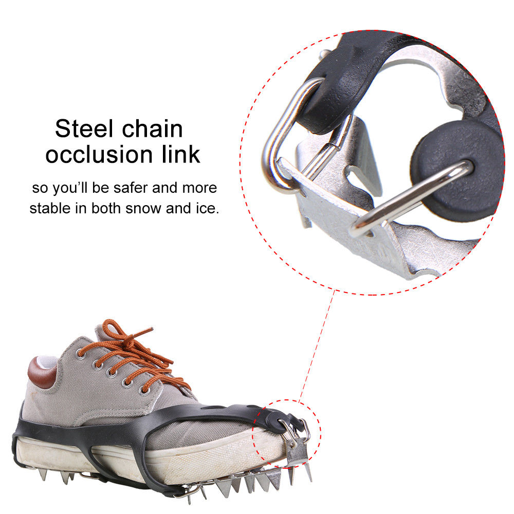 Outdoor Antislip Climbing Mountaineering Hiking Crampons 18Teeth Ice Snow Shoe Spikes L by