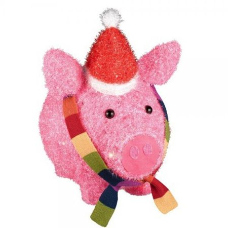 Lighted tinsel pig with hat and scarf christmas yard decor for 3 d lighted christmas pig holiday outdoor decoration
