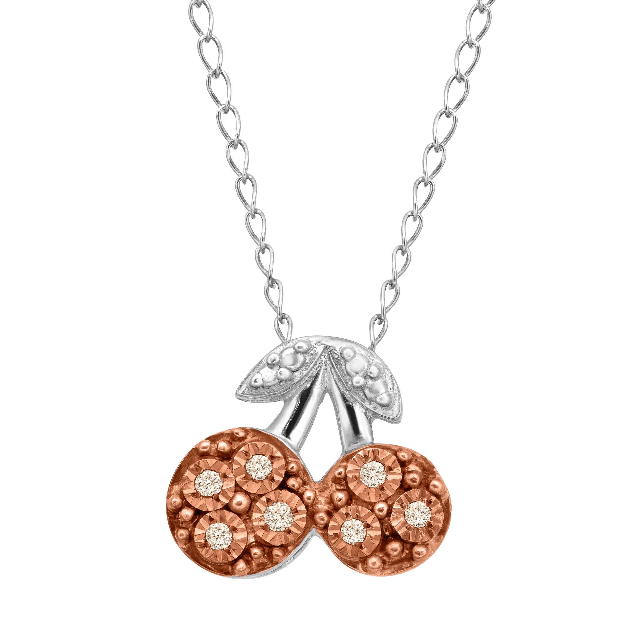 Petite Expressions  Cherry Pendant Necklace with Champagne Diamonds in 14kt Rose Gold-Plated Sterling Silver