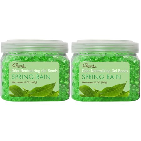 12 Pack Spring - Clear Air Odor Eliminator Gel Beads - Spring Rain - 2 Pack (12oz)