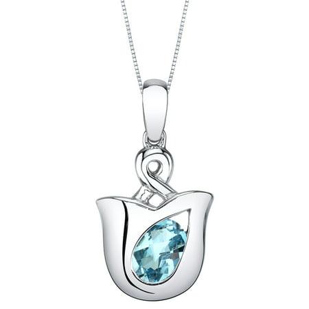 1 ct Oval Shape Swiss Blue Topaz Pendant Necklace in Sterling Silver, 18