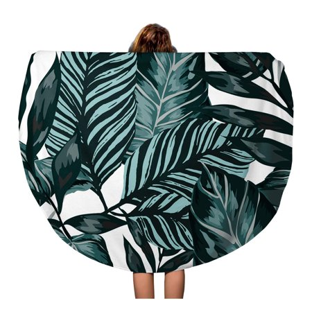 - SIDONKU 60 inch Round Beach Towel Blanket Watercolor Tropical Leaves Palms Monstera Passion Fruit Beautiful Allover Travel Circle Circular Towels Mat Tapestry Beach Throw