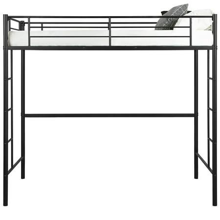Gymax Twin Loft Bed Metal Bunk Ladder Beds Boys Girls Teens Kids Bedroom Dorm Black