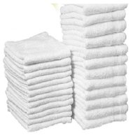 """GHP 25-Pcs 12""""x12"""" White Cotton Terry Shop Rag Wiping Cleaning Janitorial Towels"""