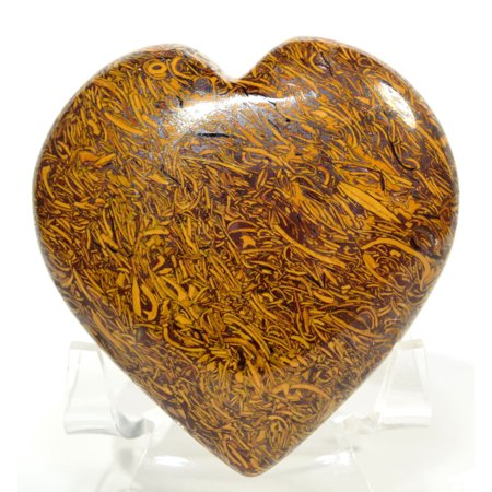"2.5"" 140g Mariyam Jasper Puffy Heart Natural Fossil Holly Stone / Coquina Jasper / Elephant Skin Mineral Polished Crystal Arabic Calligraphy Scriptstone - India + Acrylic Display Stand"