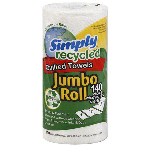 Simply Recycled Jumbo Roll 2-Ply Quilted Paper Towels, 140 sheets