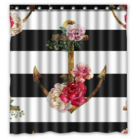YKCG Nautical Navy Ocean Ship Stripes Anchor Flower Waterproof Fabric Bathroom Shower Curtain 66x72 inches ()