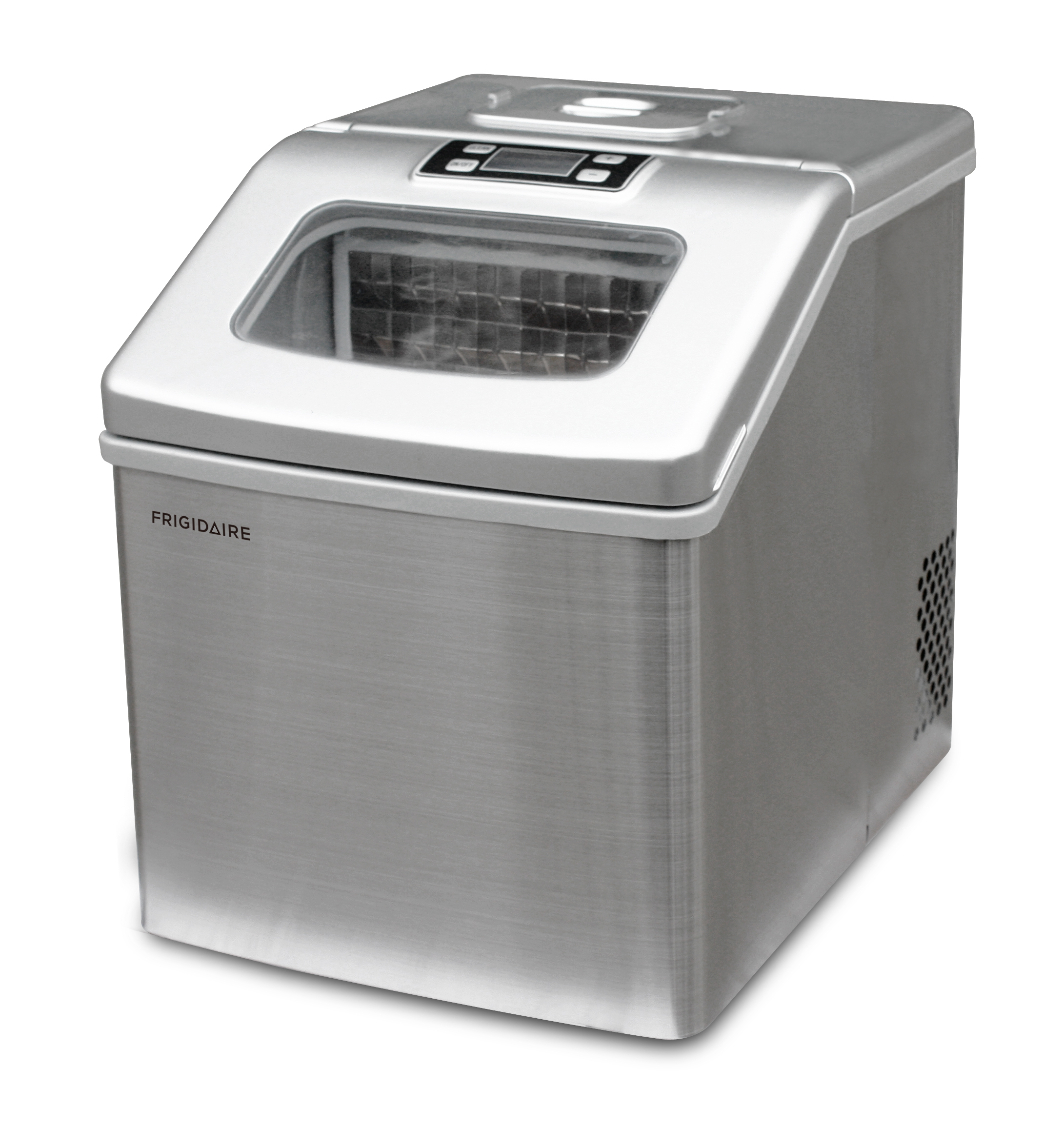 Frigidaire 40 lbs Countertop Clear Square Ice Maker, Stainless Steel